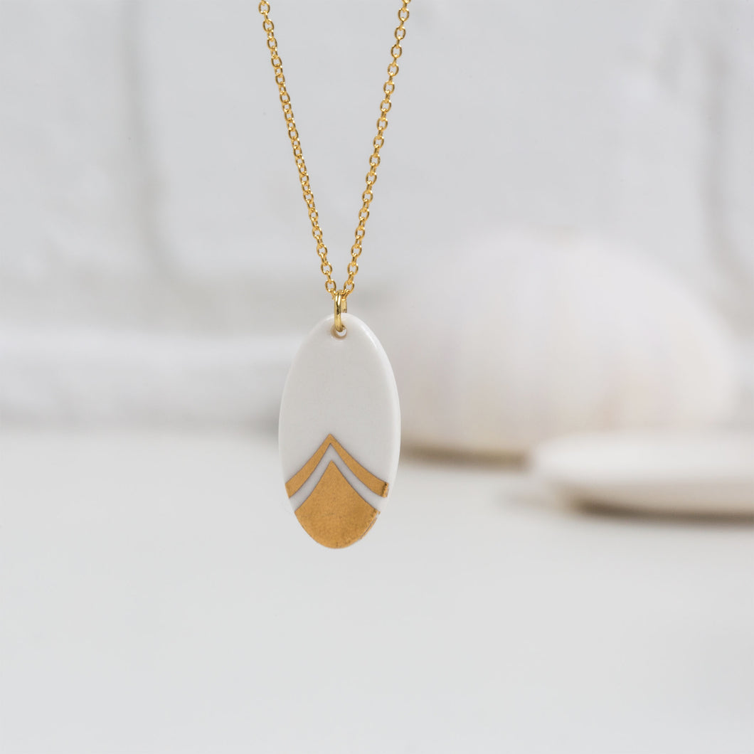 One & Eight - Gold Porcelain Feather Necklace