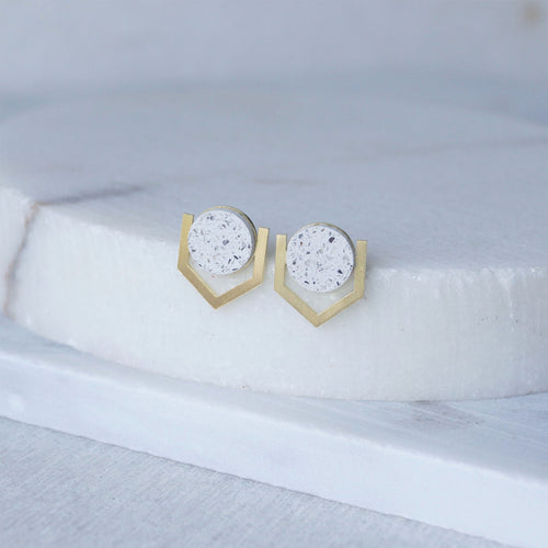 psi brass jesmonite earrings white