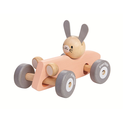 racing bunny wooden toy car pink
