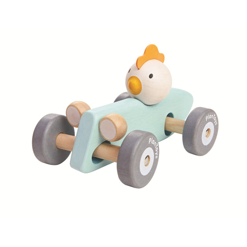 racing chicken wooden toy car blue