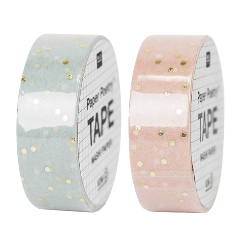 Rico - Washi Tape - Pastel and Gold Dot