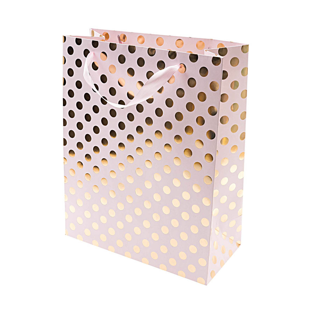 Rico Pink Gift Bag with Gold Foil Dots