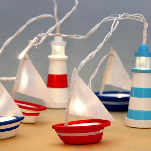 sail boats and lighthouse fairy lights