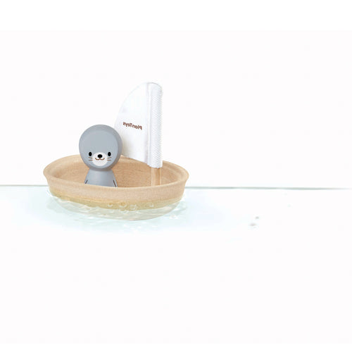 seal sail boat bath toy wooden
