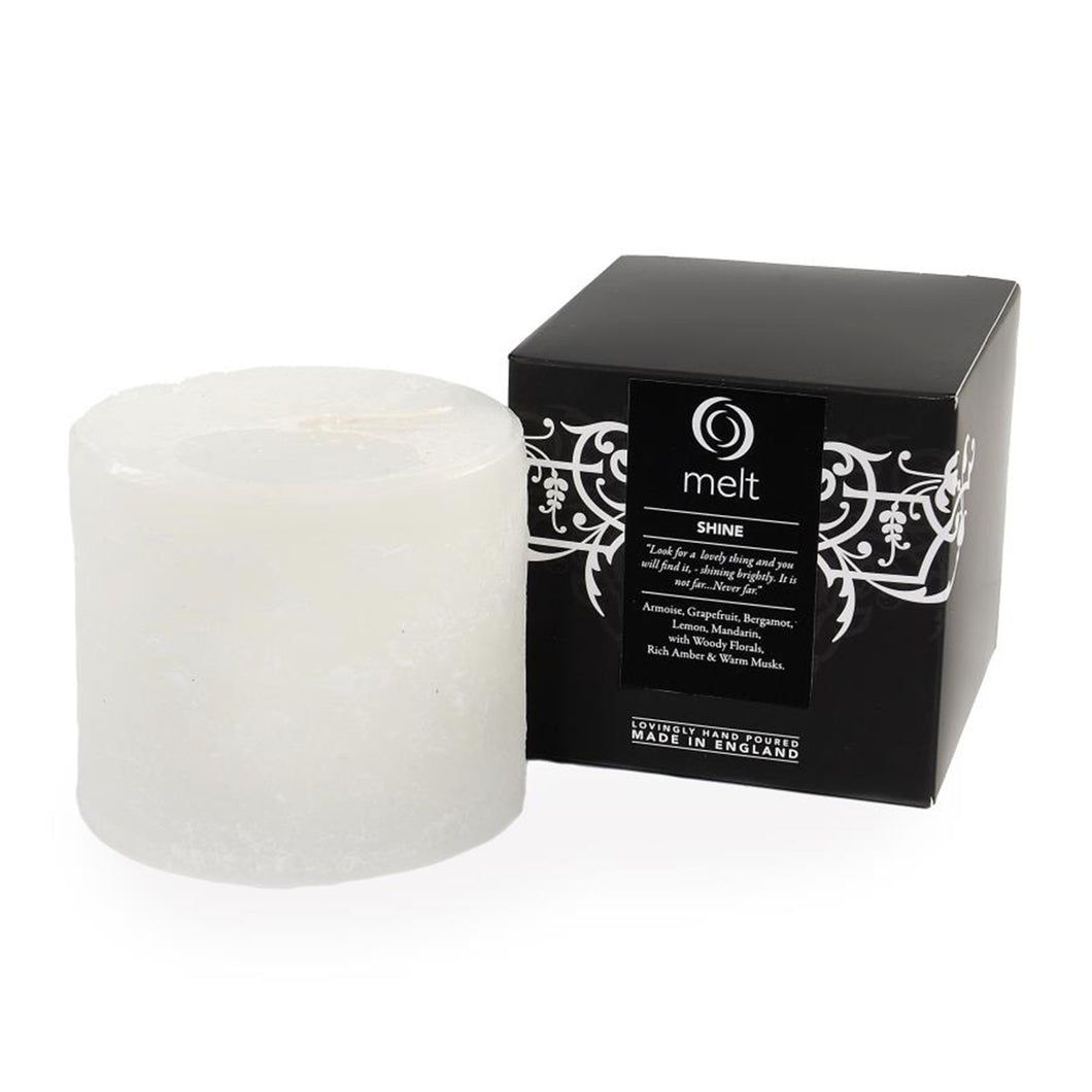 shine scented short fat pillar candle by melt