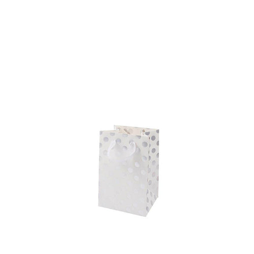 Rico - Small White Gift Bag with Silver Foil Dots