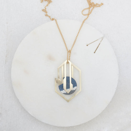 talisman brass jesmonite necklace blue white grey
