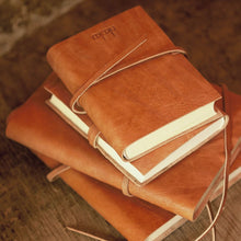 tanned leather journal