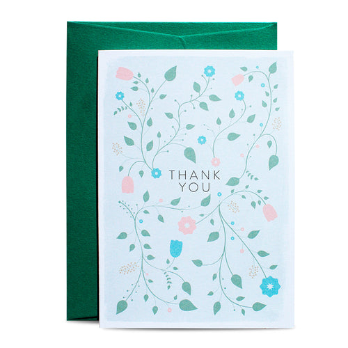 Duke & Rabbit - Thank you Flowers Card