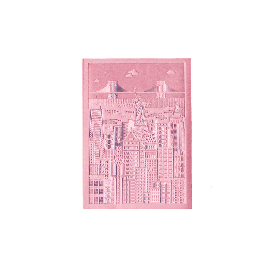 The City Works - New York Debossed Notebook - Pink - A6