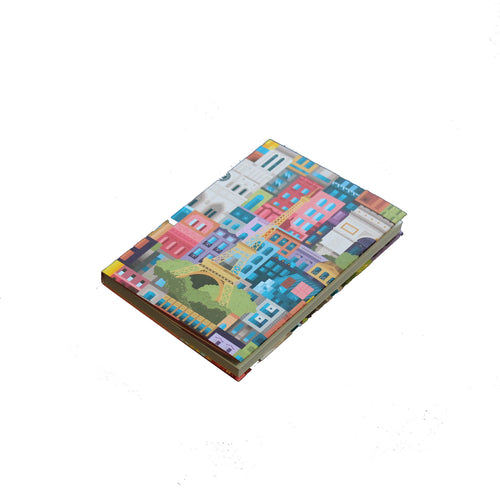 The City Works - Paris Blockprint Notebook - Multicoloured - A6