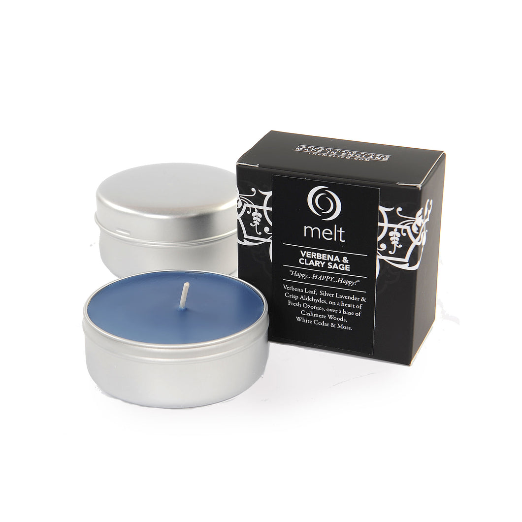 verbena clary sage scented travel tin candle by melt