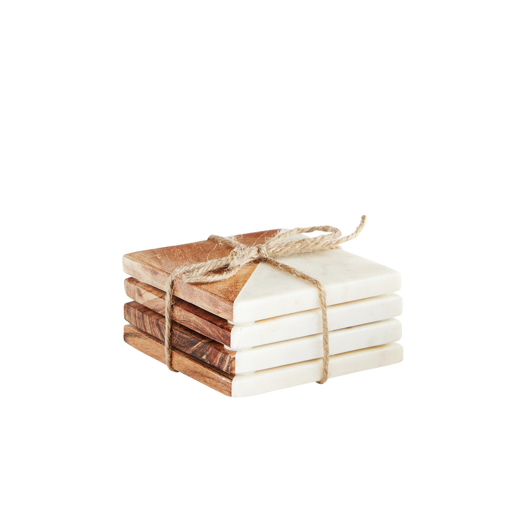 white marble and wooden coaster set