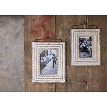 wooden white photo frame hanging