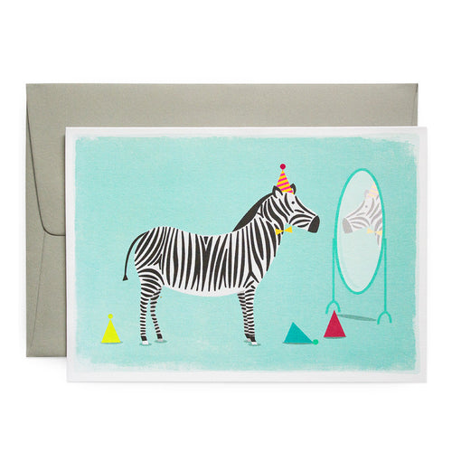 Duke & Rabbit - Zebra Birthday Hats Card