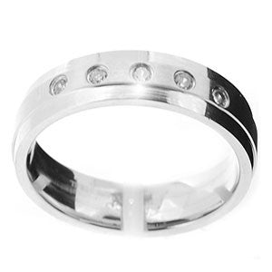 Mens Stainless Steel and Cubic Zirconia Wedding Band Ring