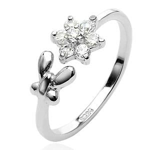 925 Sterling Silver Flower and Butterfly Toe Ring