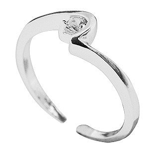Kooqi Sterling Silver Contemporary Cubic Zirconia Toe Ring