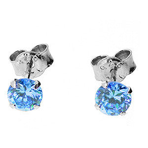 Kooqi 925 Sterling Silver 5mm Blue Topaz Colour Cubic Zirconia Martini Stud Earrings