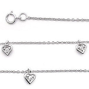 925 Sterling Silver Heart and Cubic Zirconia Charm Anklet