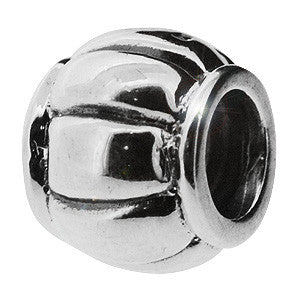 Genuine Biagi 925 Sterling Silver Round Charm Bead With Eight Lines