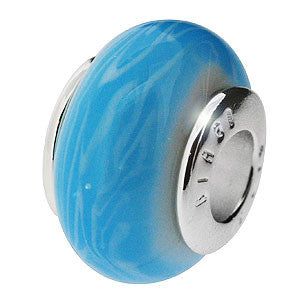 Genuine Biagi 925 Sterling Silver Charm Bead in Turquoise Blue with White Waves