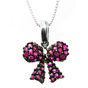 Pink Rosette Bow 925 Sterling Silver Pendant Necklace