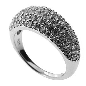 Sparkling Sterling Silver Pave White Cubic Zirconia Cocktail Ring