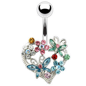 Navel Ring with Large Multicolour Heart of Flowers and Butterflies