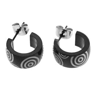 Spikes 316L Stainless Steel Wide Black Hoop Earrings with Tribal Circles
