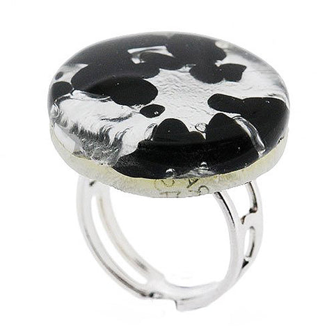 Venetian Murano Glass Silver and Black Round Ring