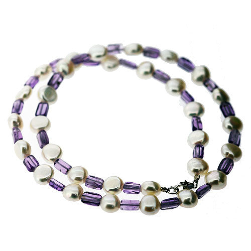 June and February Birthstone Freshwater Cream Pearl and Amethyst Necklace