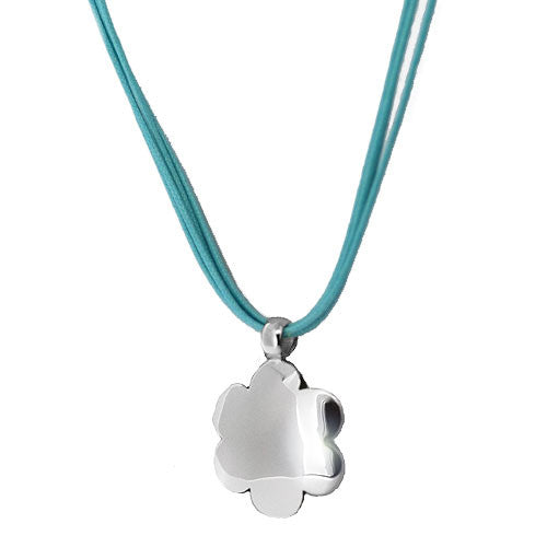 925 Sterling Silver Flower Shaped Pendant Necklace with Turquoise Multistrand Necklace