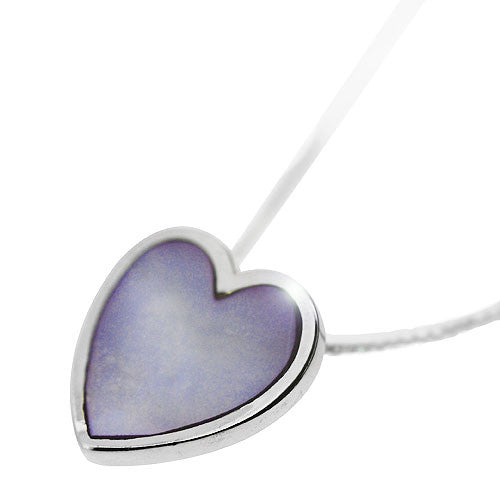 925 Sterling Silver and Lilac Mother of Pearl Curved Heart Pendant Necklace
