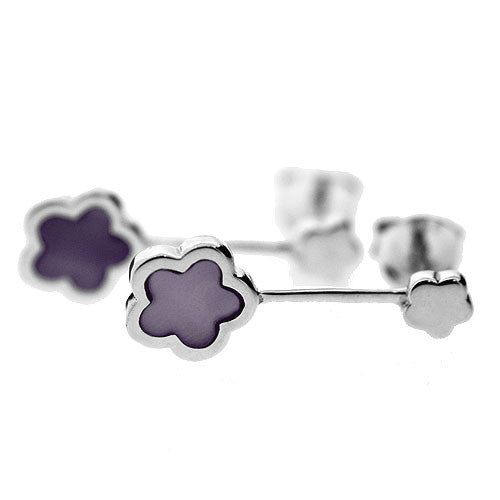 925 Sterling Silver and Lilac Mother of Pearl Double Flower Dangle Earrings