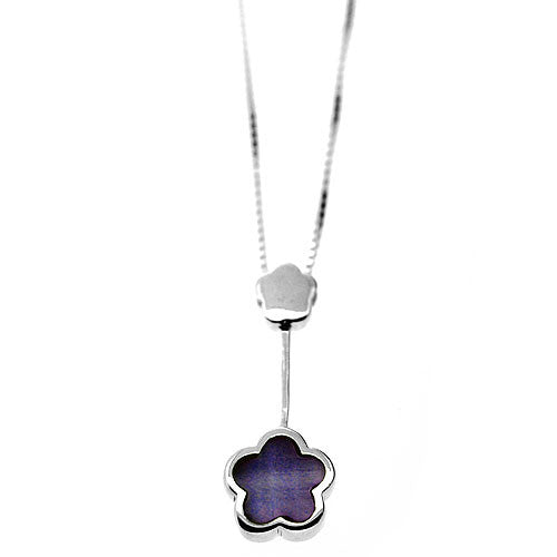 925 Sterling Silver and Lilac Mother of Pearl Double Flower Dangle Pendant Necklace