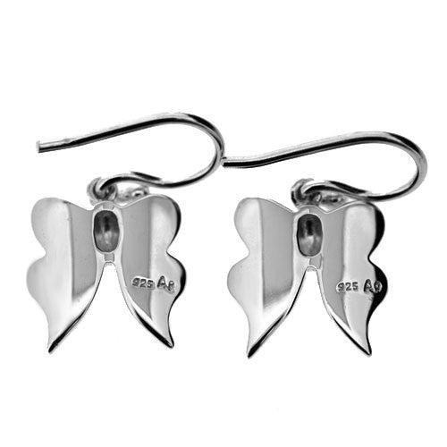 925 Sterling Silver and Pink and White Mother of Pearl Butterfly Dangle Earrings