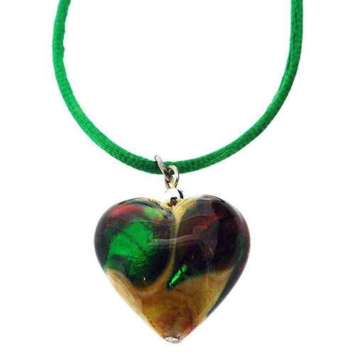 Venetian Murano Glass Green and Lemon Chubby Heart Pendant Necklace