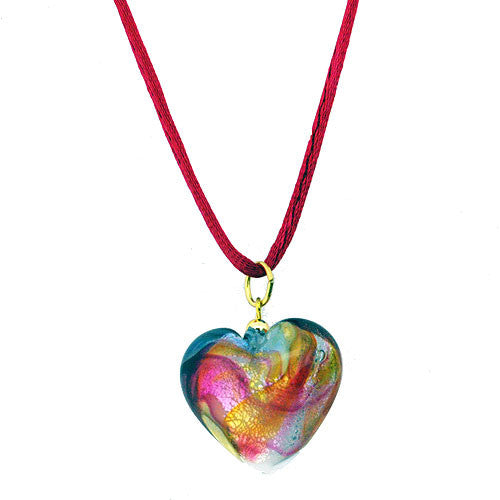 Venetian Murano Glass Deep Pink Swirl Chubby Heart Pendant Necklace