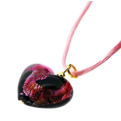 Venetian Murano Glass Black and Pink Swirl Chubby Heart Pendant Necklace