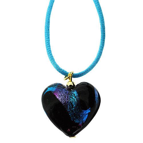 Venetian Murano Glass Black and Turquoise Swirl Chubby Heart Pendant Necklace