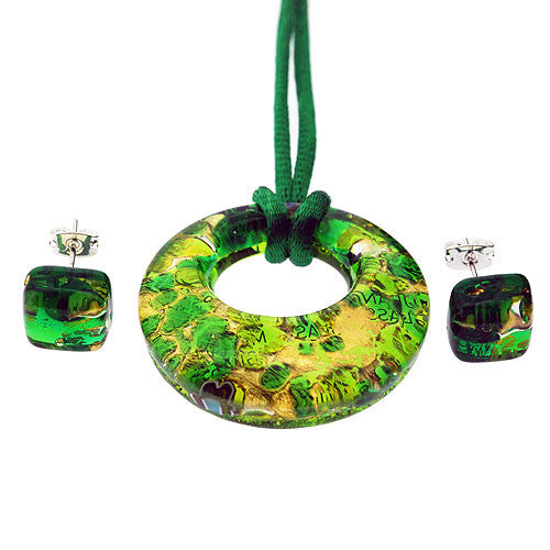 Venetian Murano Glass Emerald Green and Gold Open Circle Pendant and Earrings Jewellery Set