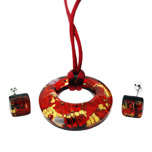 Venetian Murano Glass Scarlet and Gold Open Circle Pendant and Earrings Jewellery Set