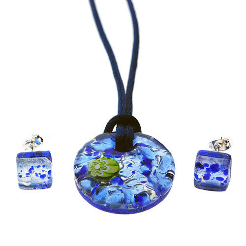 Venetian Murano Glass Circular Baby Blue and Silver Pendant and Earrings Jewellery Set
