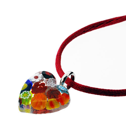 Venetian Murano Glass Multicoloured Millefiori Heart Pendant Necklace