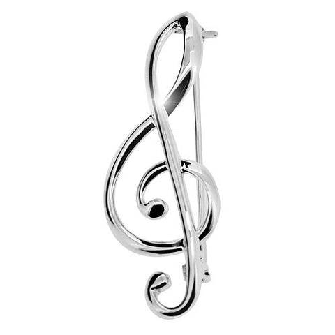 Treble Clef Brooch in High Polish 925 Sterling Silver