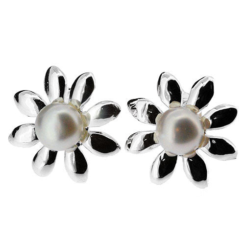 June Birthstone Freshwater Pearl and 925 Sterling Silver Daisy Earrings