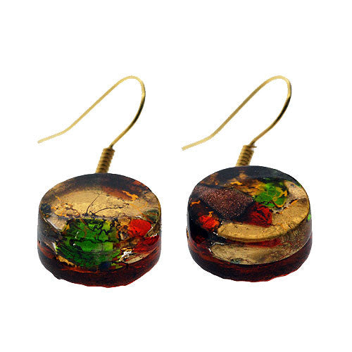 Venetian Murano Glass Multicolour and Gold Marbling Drop Earrings