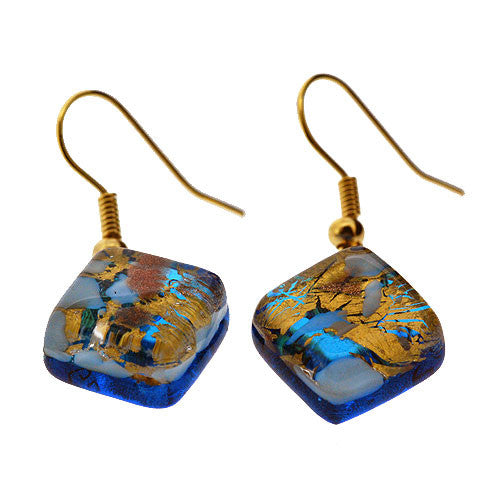 Venetian Murano Glass Turquoise White and Gold Square Earrings