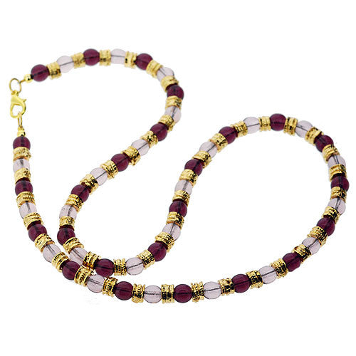 Venetian Murano Glass Amethyst Lilac and Gold Bead Necklace